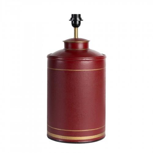 Lámpara de mesa tibor rojo con líneas doradas