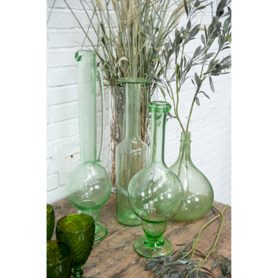 Green glass flowerpot