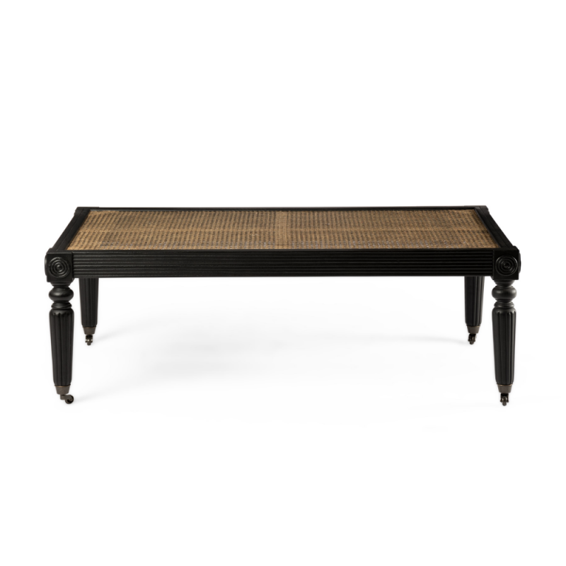 Black coffee table with wheels and wickerwork