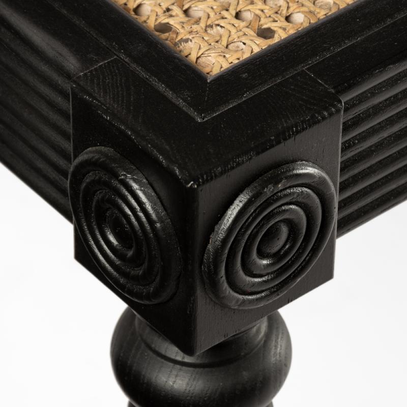 Mesa de centro negra con rejilla y ruedas - BECARA