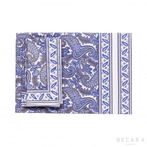 Shatoosh blue square tablecloth with 6 napkins