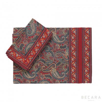 Mantel cuadrado y 6 servilletas Shatoosh rojo/verde - BECARA