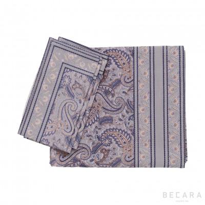 Mantel cuadrado y 6 servilletas Shatoosh gris/plata - BECARA