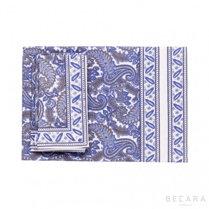 Mantel y 8 servilletas Shatoosh azul - BECARA