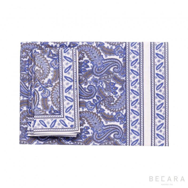Shatoosh blue  tablecloth with 8 napkins