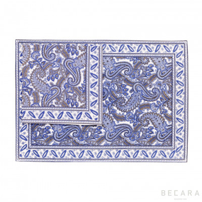 Shatoosh blue tablecloth with napkin