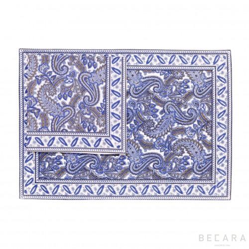 Mantel individual con servilleta Shatoosh azul - BECARA