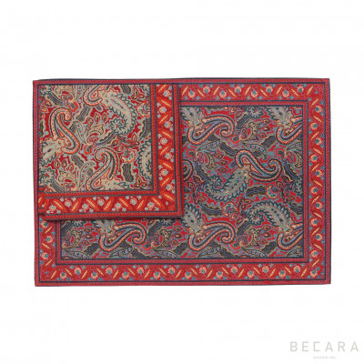 Mantel individual con servilleta Shatoosh rojo/verde - BECARA