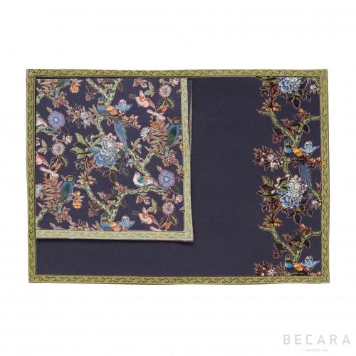 Bird tablecloth with napkin
