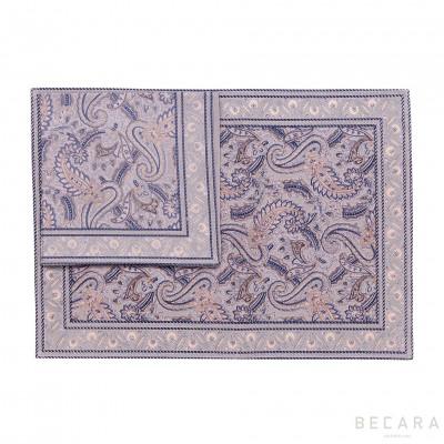 Mantel individual con servilleta Shatoosh gris/plata - BECARA