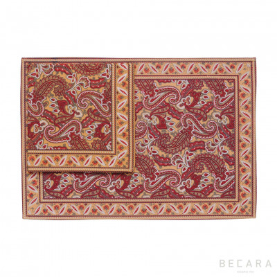 Shatoosh red/camel tablecloth with napkin