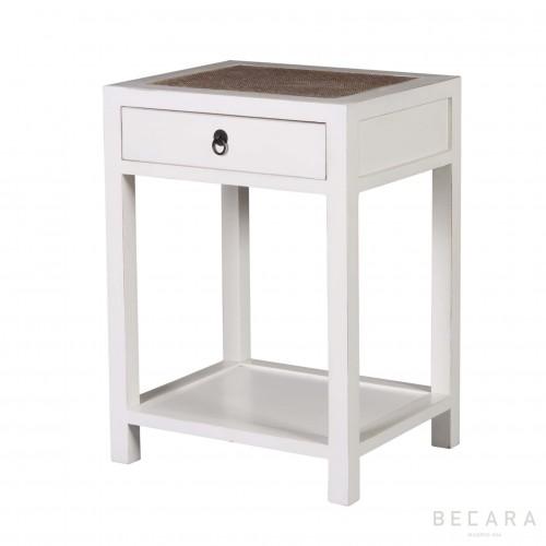 Mesa de noche blanca con cajón - BECARA