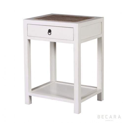 White bedside table with drawer