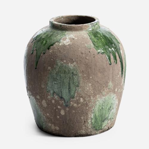 Big green and brown flowerpot