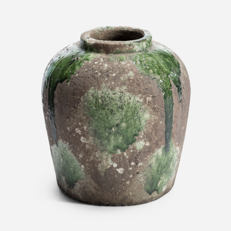 Small green and brown flowerpot