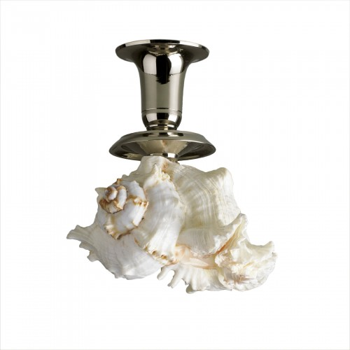 silver candle holder with white shell