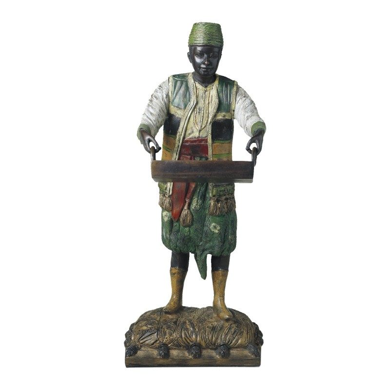 Man with tray bronze figure