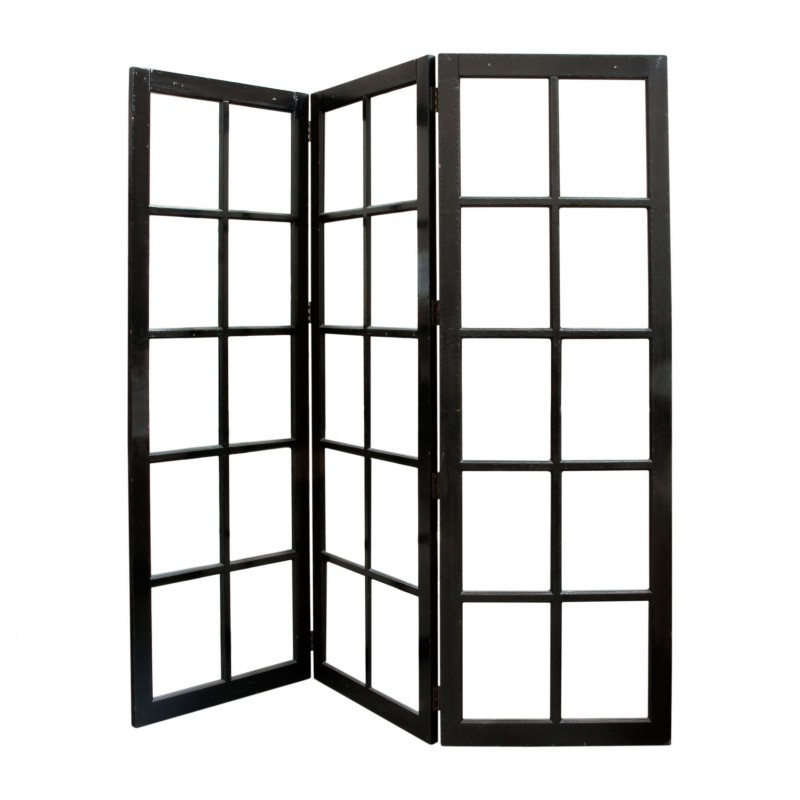 Black screen room divider with glasses
