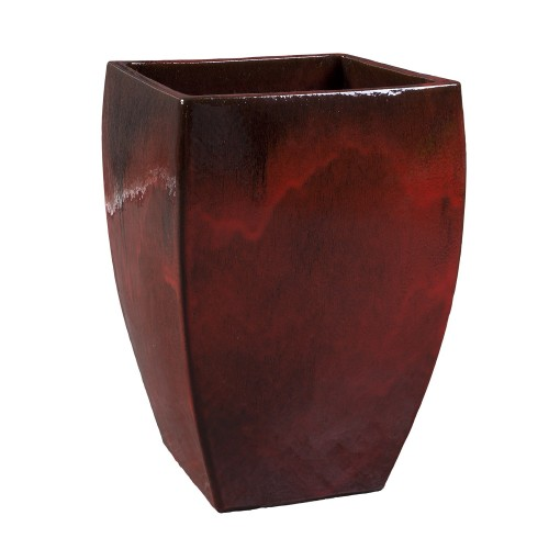 Big red square flowerpot