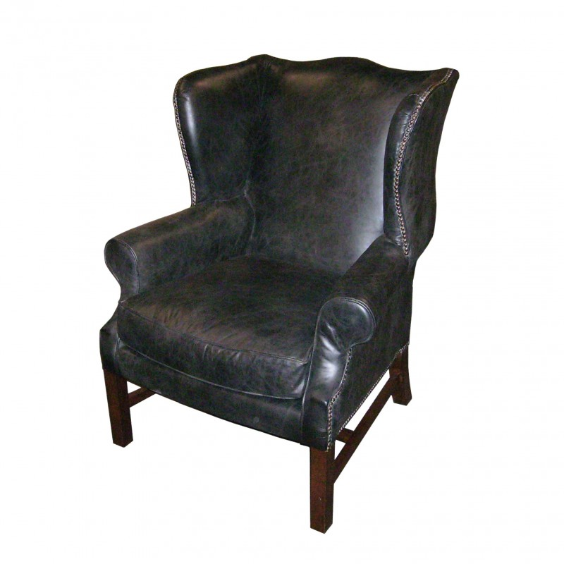 Black leather ear muffs armchair