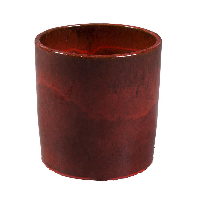 ROUND RED FLOWERPOT