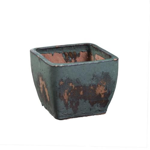 Small blue square flowerpot