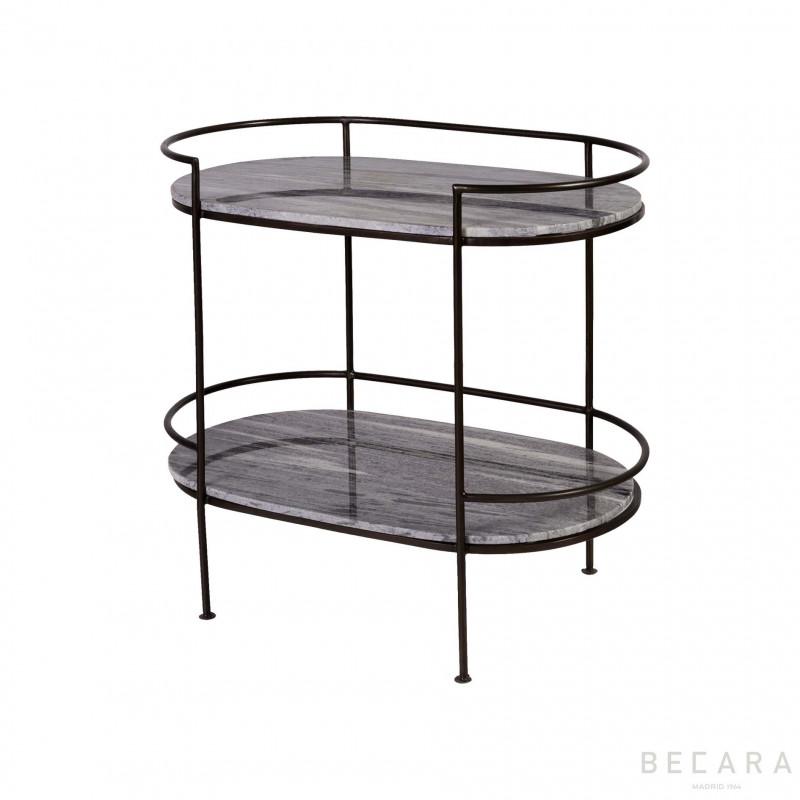 Mesa auxiliar ovalada 2 baldas - BECARA