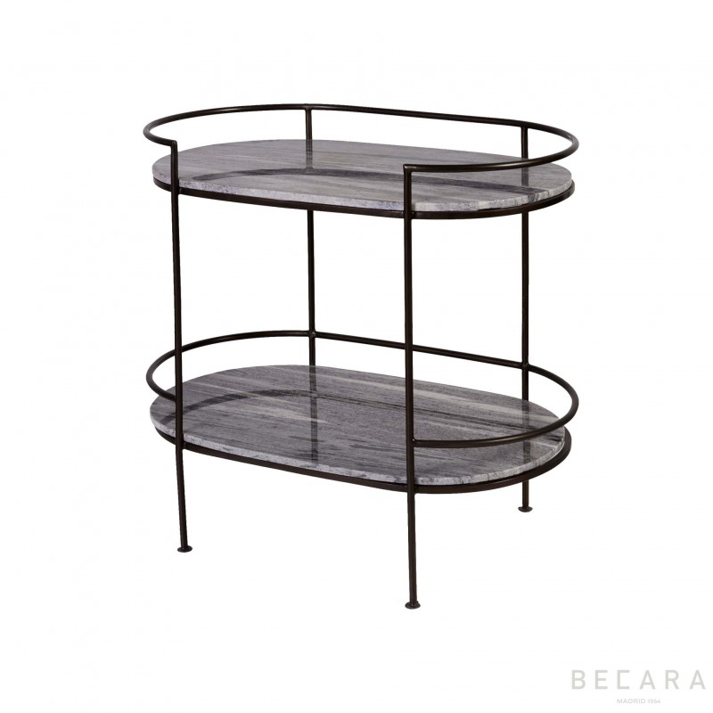 Oval side table wuth 2 shelves