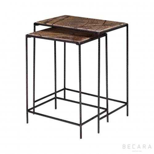 Set de 2 mesas auxiliares mármol - BECARA