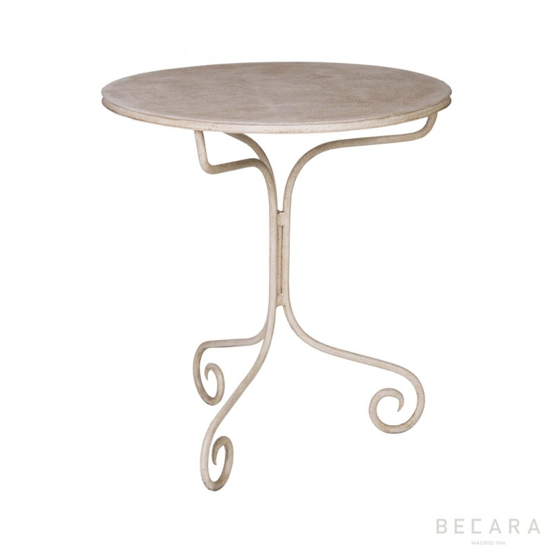 Round ivory-coloured side table