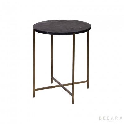 Mesa auxiliar dorada con mármol - BECARA