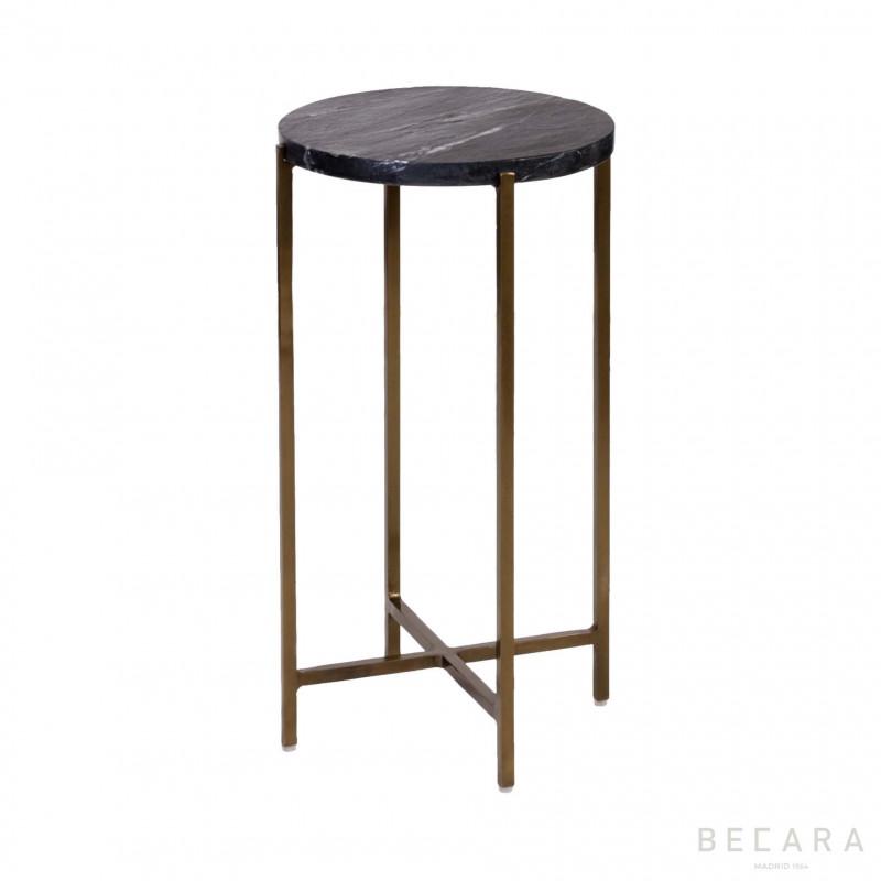 Mesa auxiliar alta dorada con mármol - BECARA