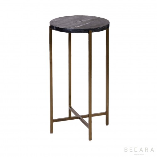 Tall golden side table with marble top