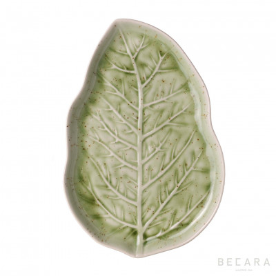 Light green leaf platter