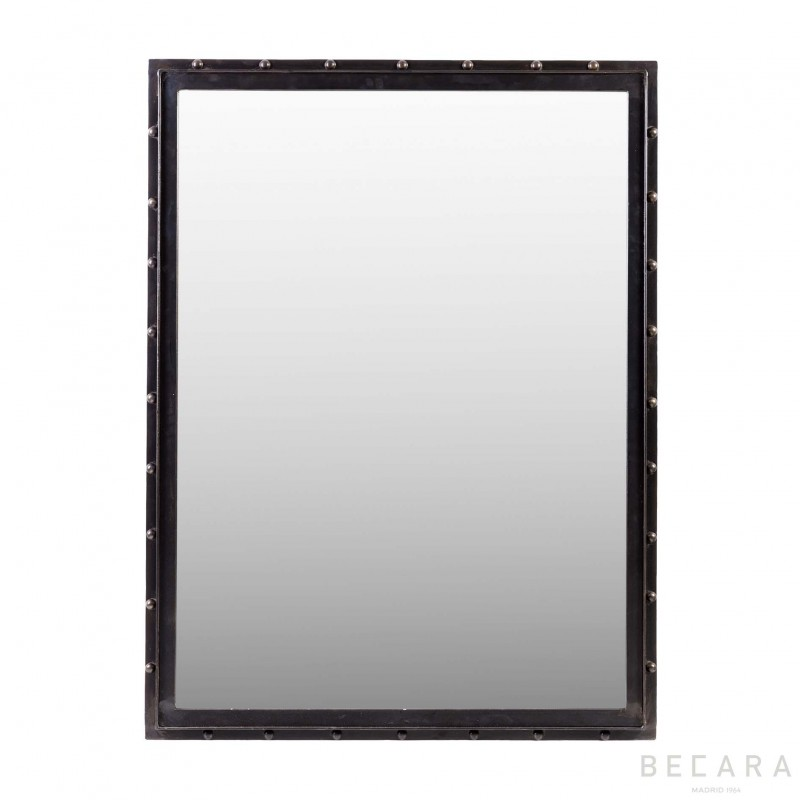 Rectangular mirror with rivets