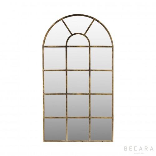 Aged golden iron mirror