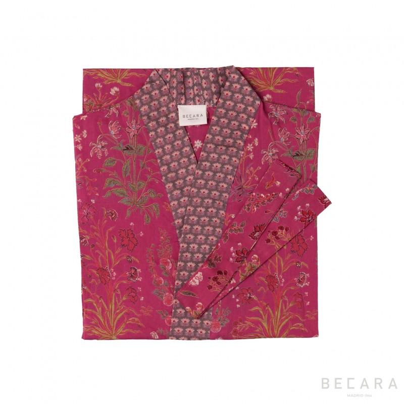 Garden Red kimono/housecoat