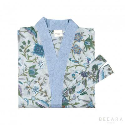 Kerala Aqua kimono/housecoat