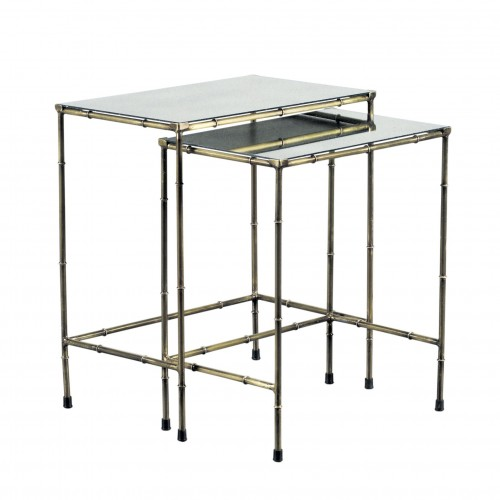 Set 2 mesas auxiliares con tapa espejo