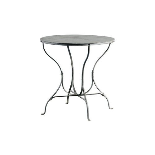 Round grey iron side table