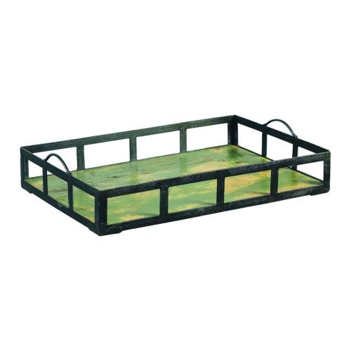 Bandeja con asas de hierro y fondo de madera verde - BECARA