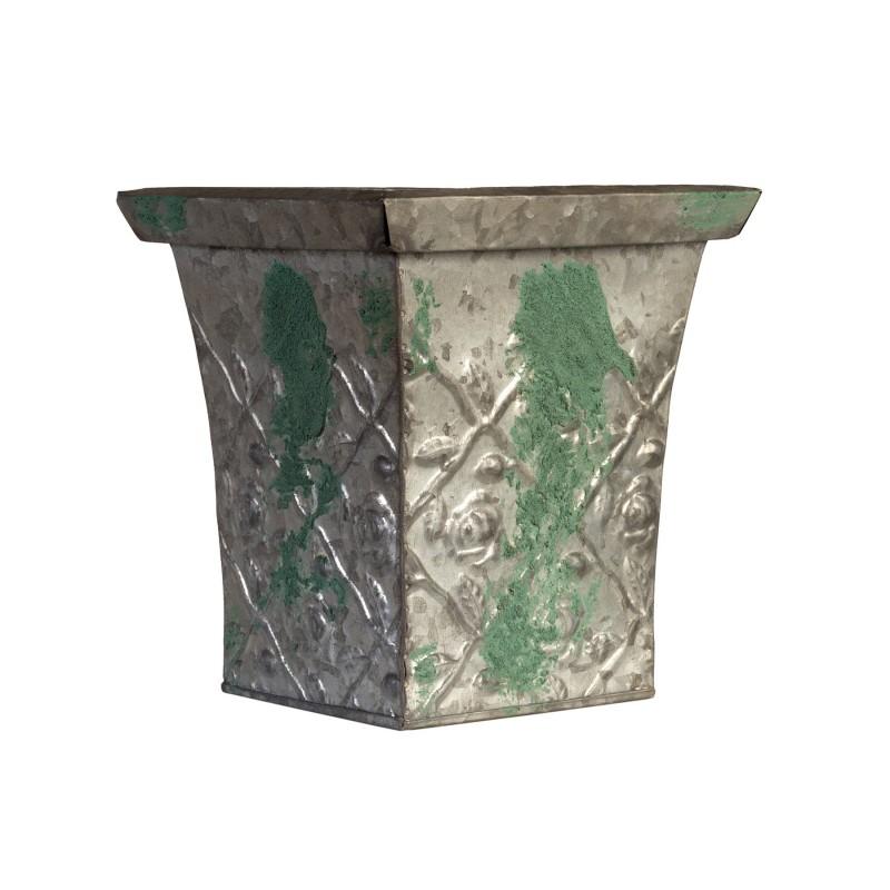 Macetero de metal verde desgastado - BECARA