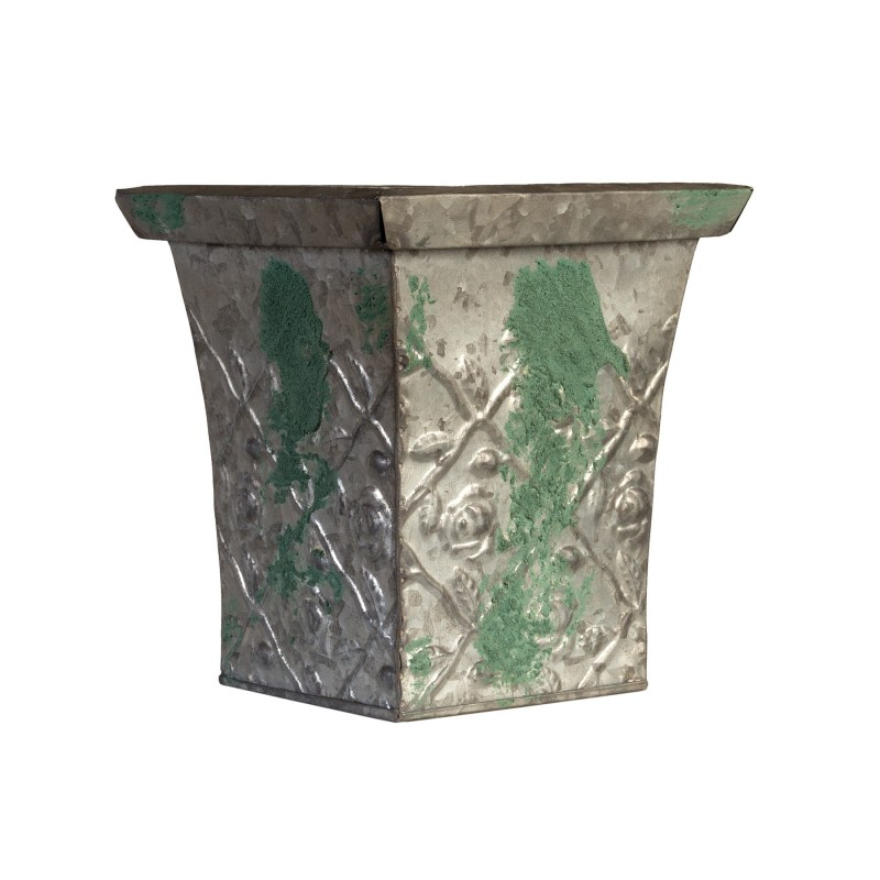 Distressed green metallic flowerpot