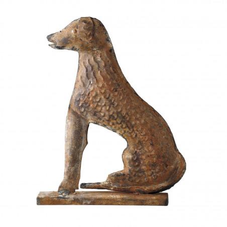 REDDISH METAL DOG ON STAND