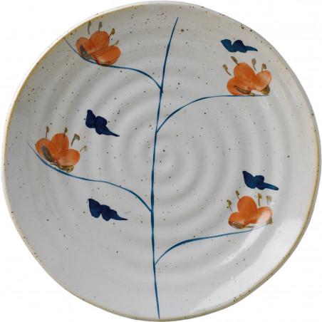 IMARI  ORANGE- BLUE FLOWERS PLATE