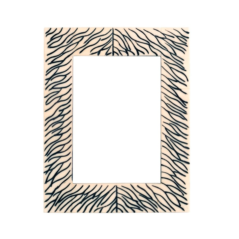 White wooden frame with black lines