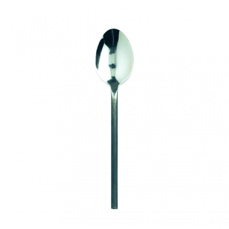 Black steel handle soup spoon