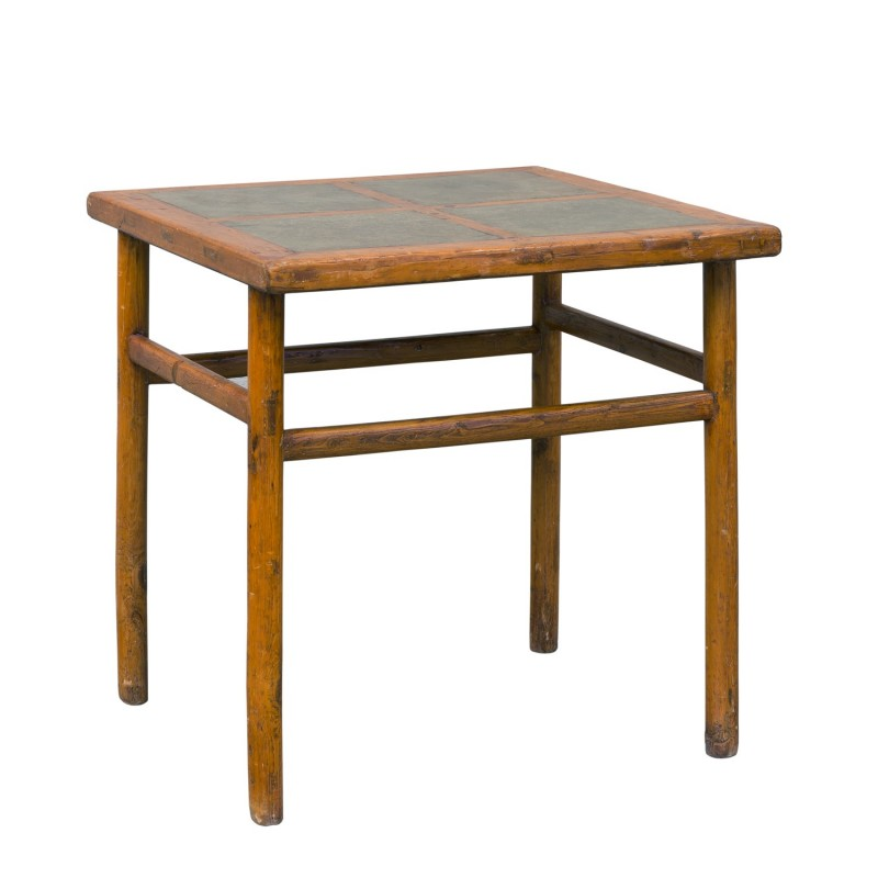 Square Antique table with stone lid