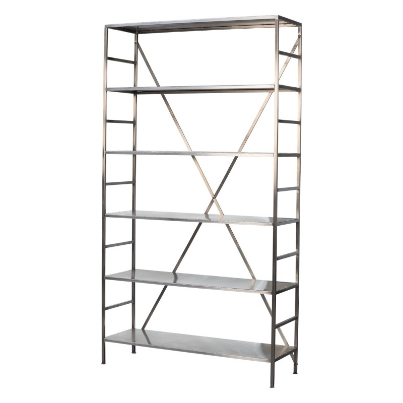 Tall nickel-plated iron shelves