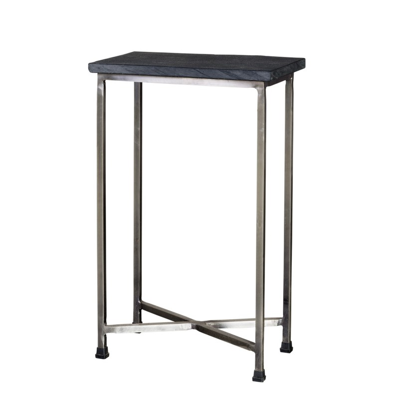 Iron side table with stone on top